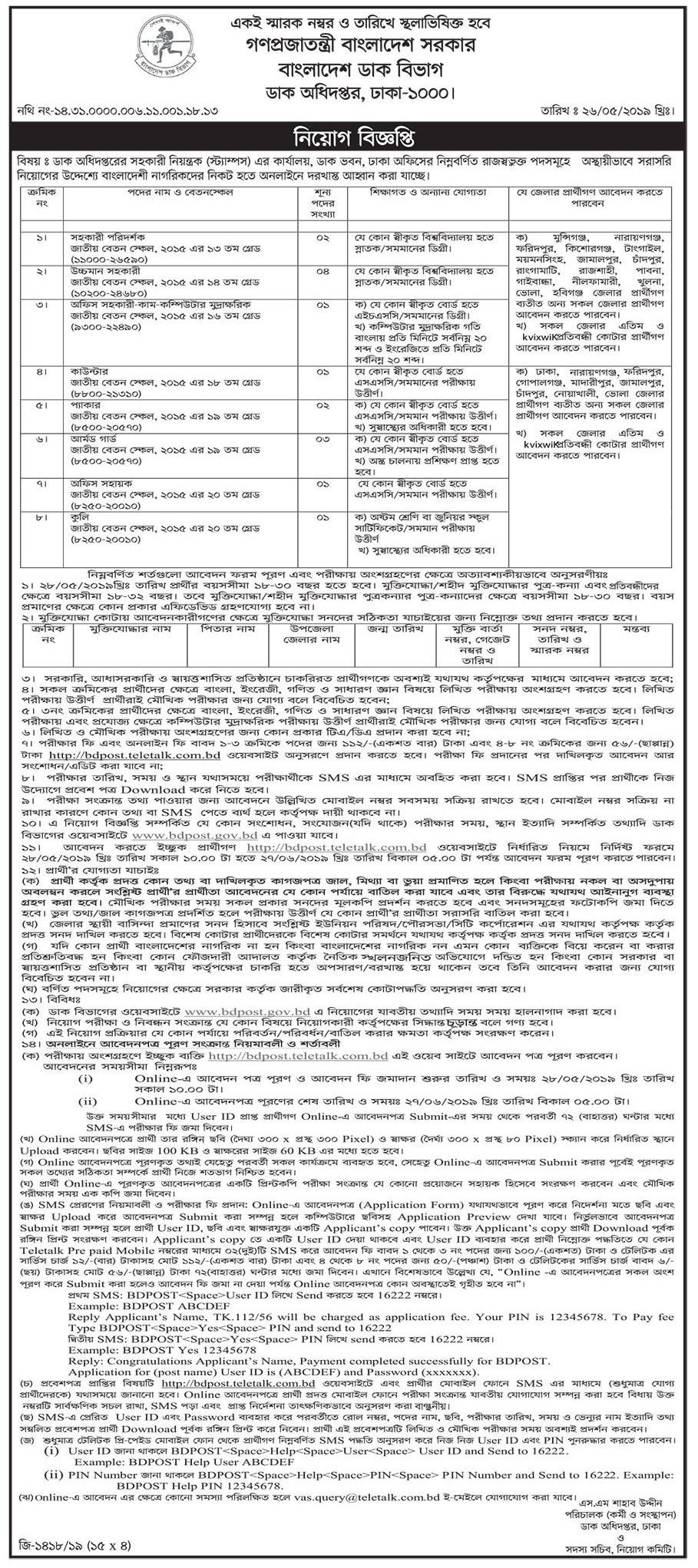 Post Office Job Circular 2019 Bangladesh - NewExamResult Com